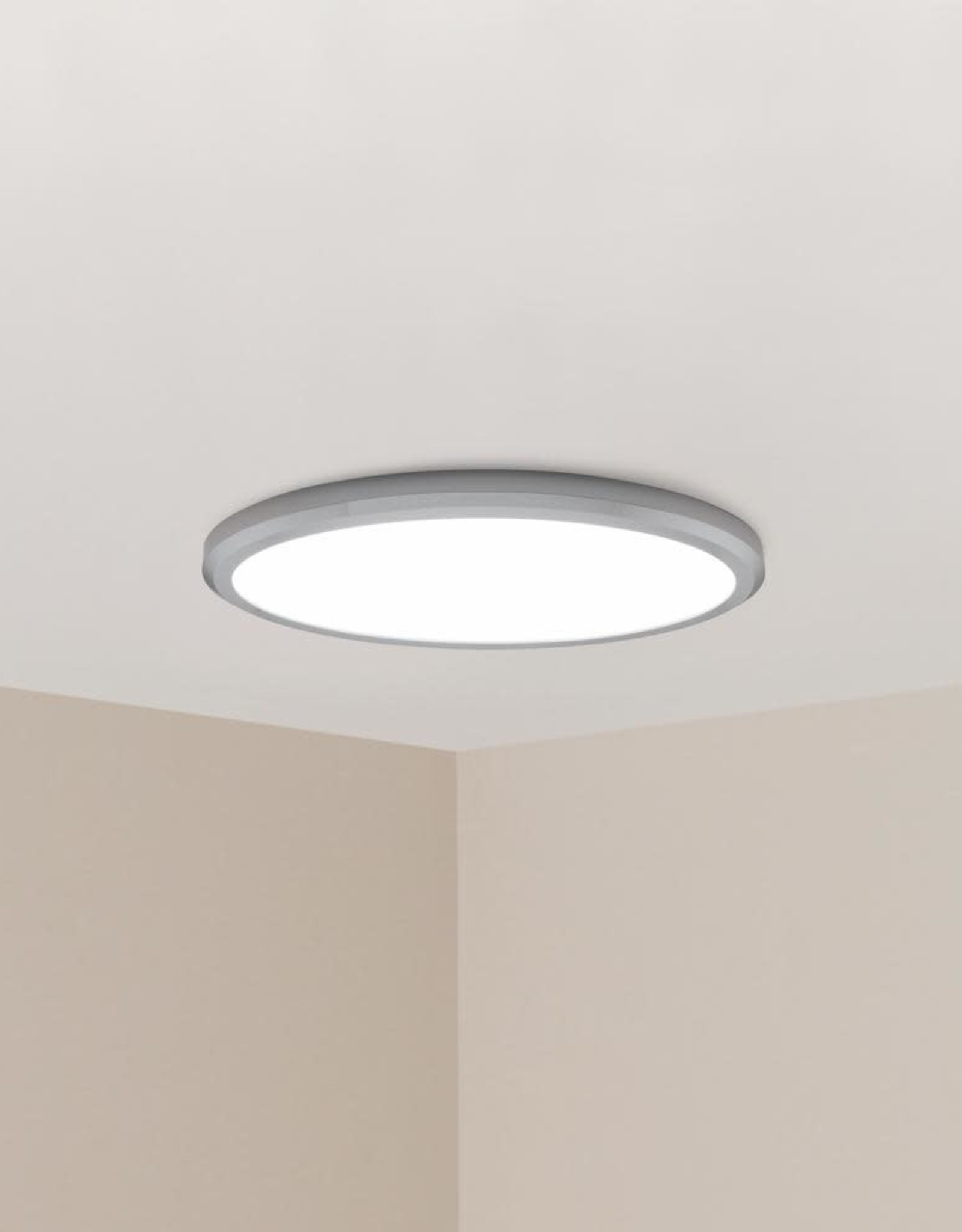 Edge Lit 64-Watt Chrome Integrated LED Ceiling Flush Mount