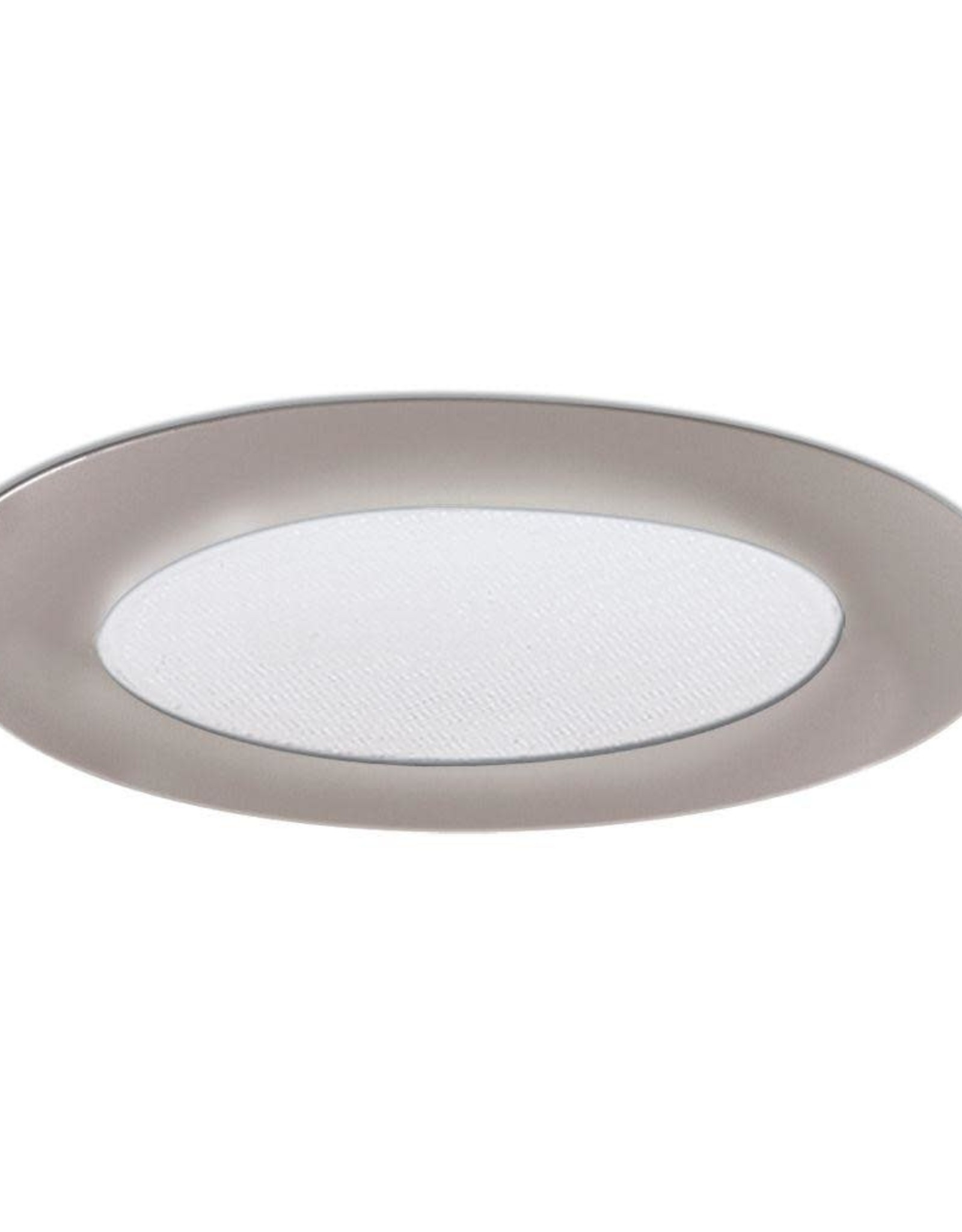 6 in. Satin Nickel Recessed Ceiling Light Shower Trim with Albalite Glass Lens