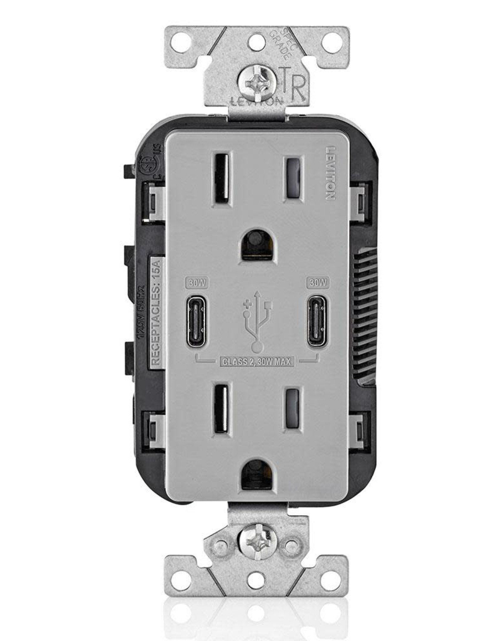 30-Watt 6 Amp USB Dual Type-C with Power Delivery In-Wall Charger/15 Amp 125-Volt Tamper-Resistant Outlet, Gray