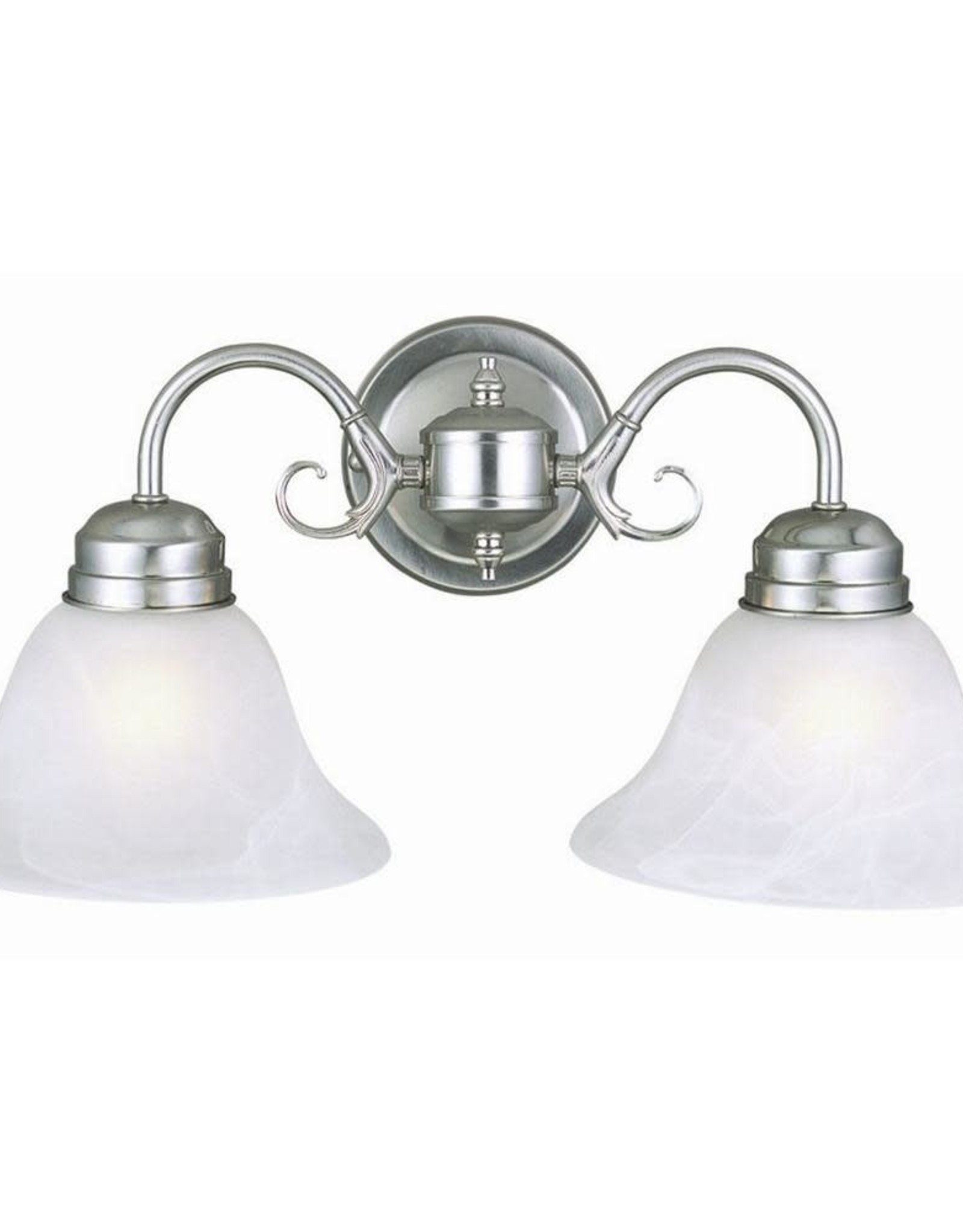 Millbridge 2-Light Satin Nickel Sconce with Alabaster Glass Shade