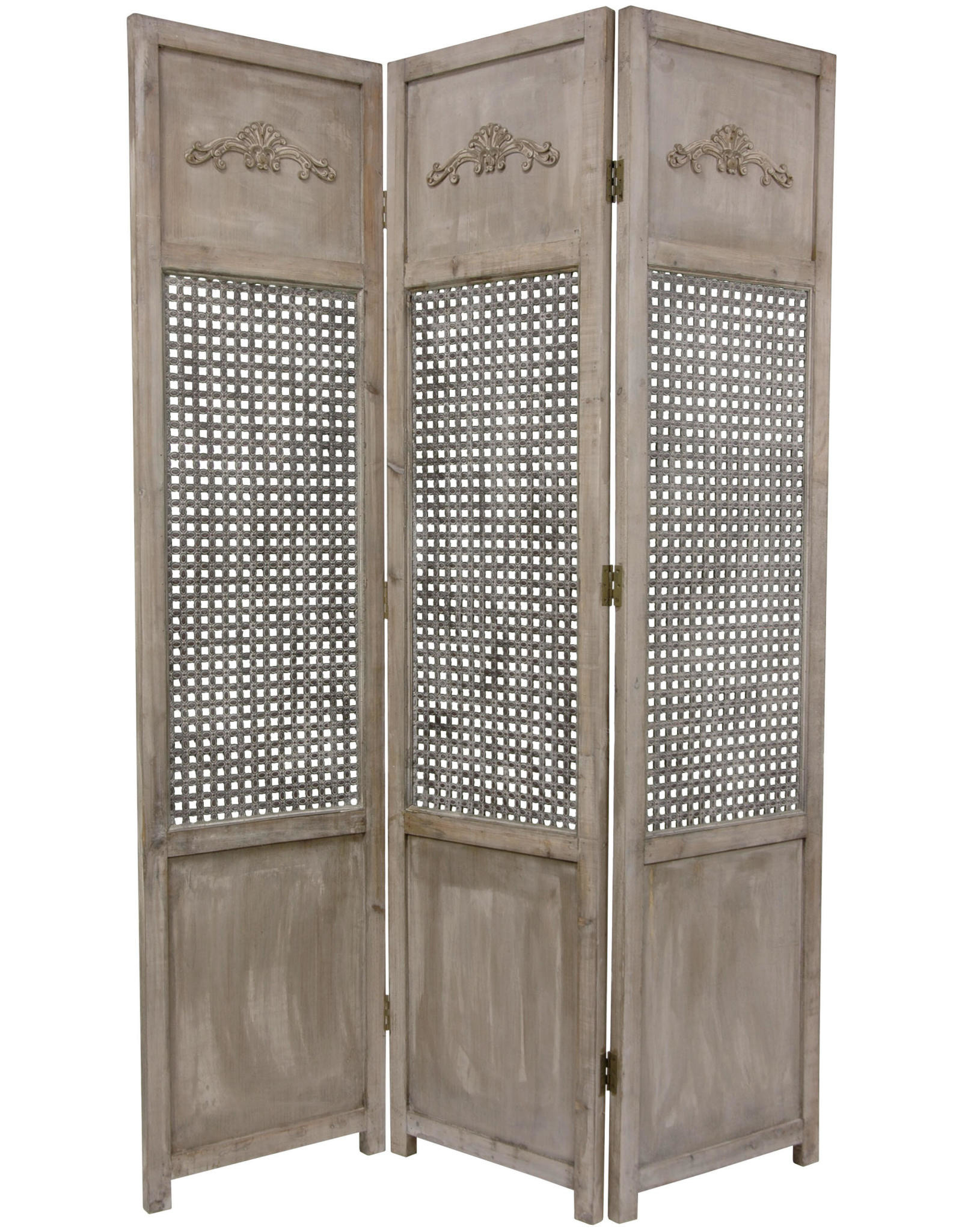 Oriental Furniture 6 ft. Gray 3-Panel Open Mesh Room Divider