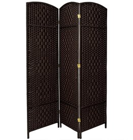 Oriental Furniture 6 ft. Black 3-Panel Room Divider