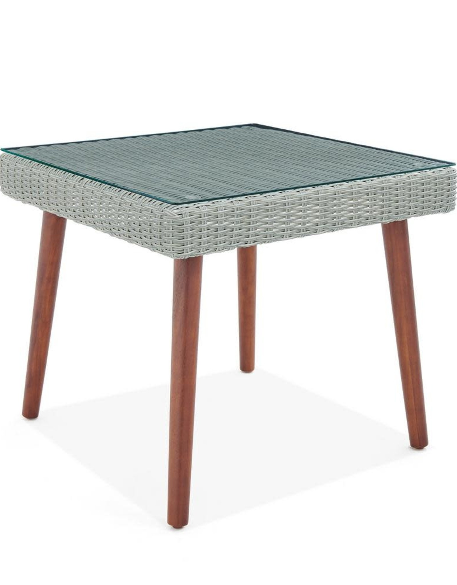 Alaterre Furniture Albany Brown Square Wicker Outdoor Accent Table