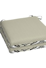 Hampton Bay DriWeave Black & Gray Tile Square Outdoor Seat Cushion (2-Pack)