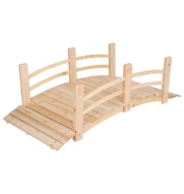Shine Company 5 ft. Natural Cedar Wood Garden Bridge