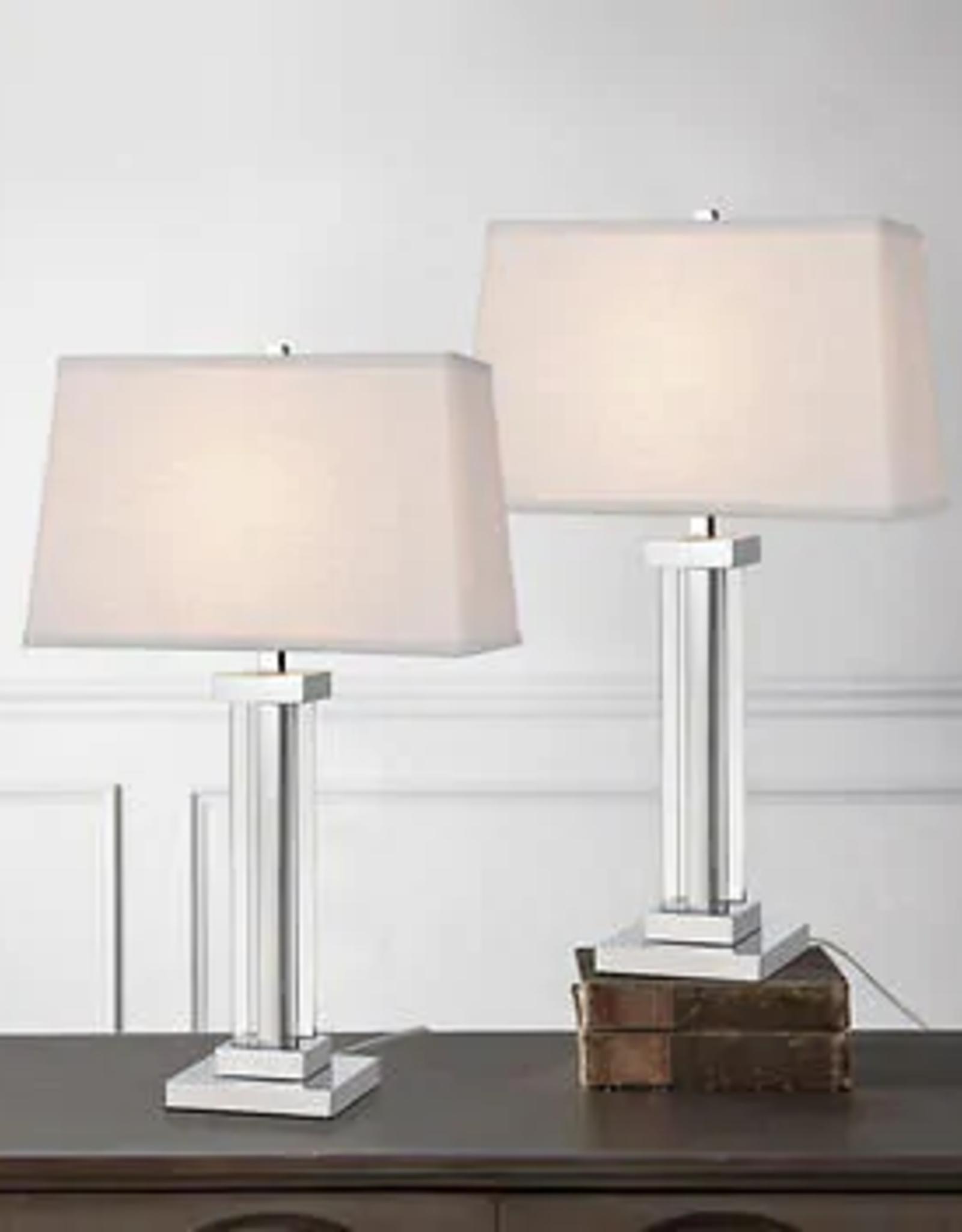 TMI LLC Kate Polished Chrome Crystal Panel Table Lamp, 2-pack