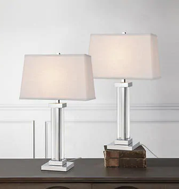 TMI LLC Kate Polished Chrome Crystal Panel Table Lamp, 2-pack