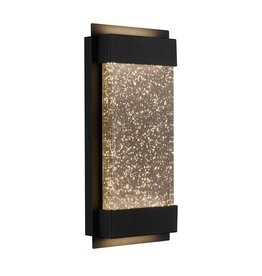 ARTIKA FOR LIVING INC Medium Essence Glowbox Black Outdoor Integrated LED Wall Mount Lantern with Bubble Glass