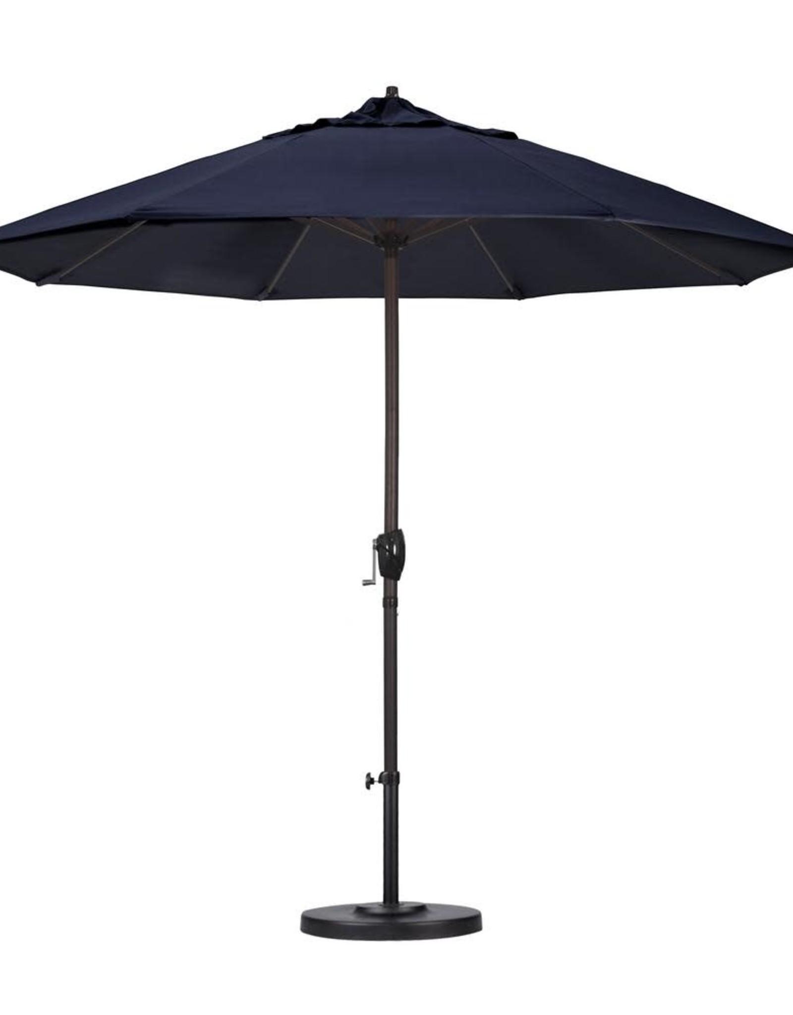 9 ft. Aluminum Auto Tilt Patio Umbrella in Blue