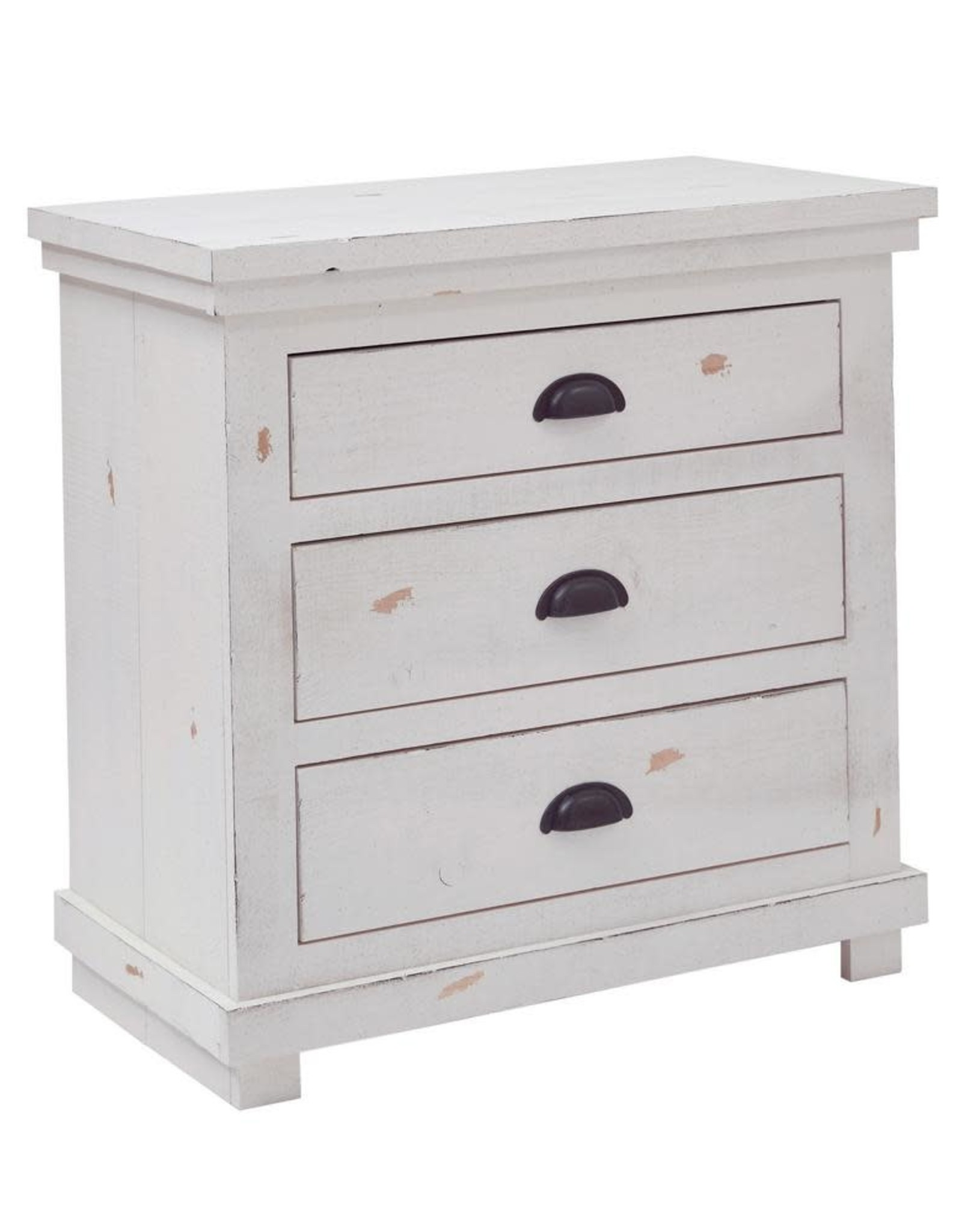 Willow 3-Drawer Distressed White Nightstand