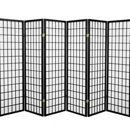 5 ft. Black 6-Panel Room Divider