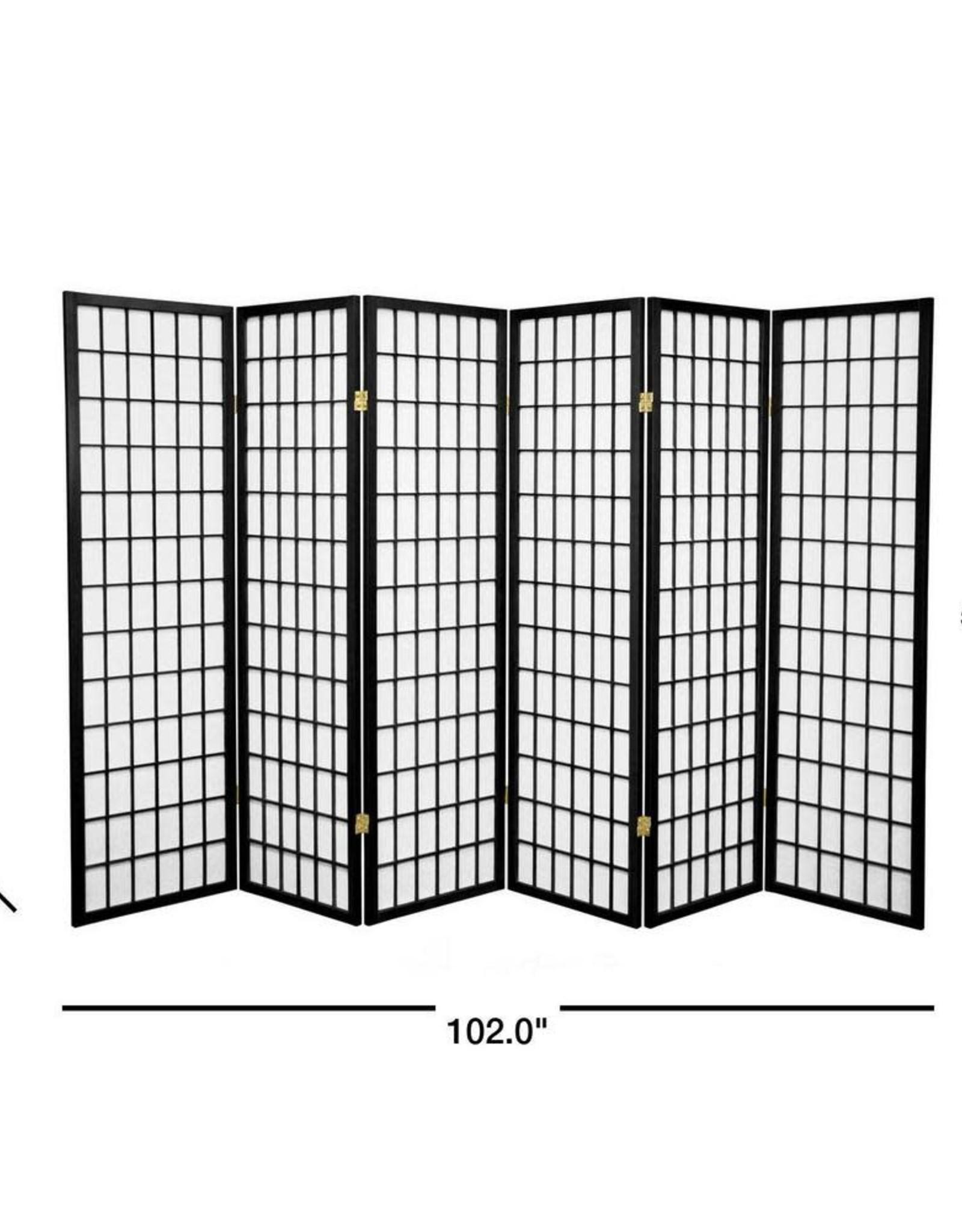 5 ft. Black 6-Panel Room Divider