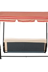 Bonsallo 3-Seat Black Metal Porch Patio Swing with Tan Red Striped Canopy