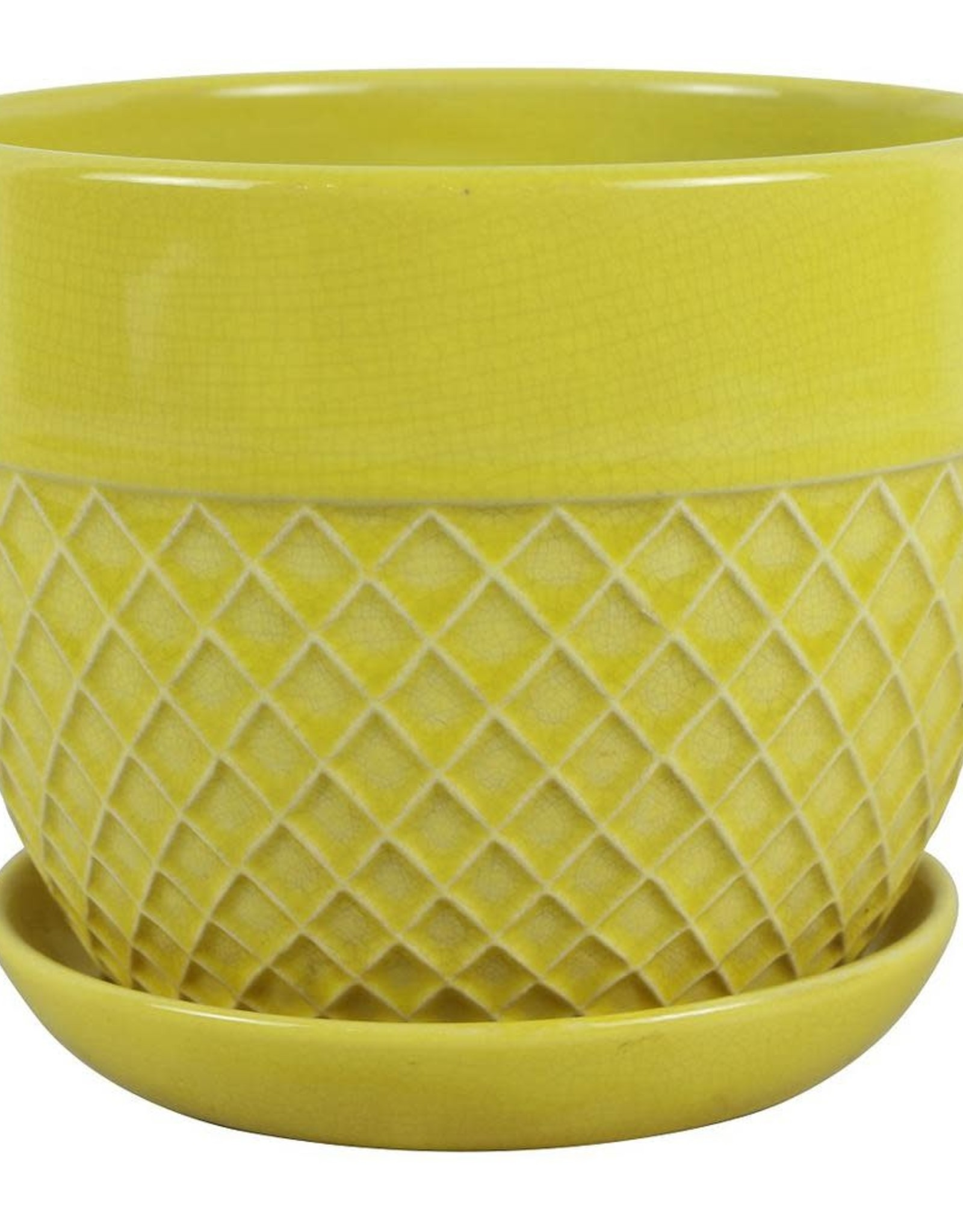Trendspot 6 in. Dia Yellow Acorn Bell Ceramic Planter