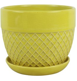 Trendspot 6 in. Dia Yellow Acorn Bell Ceramic Planter