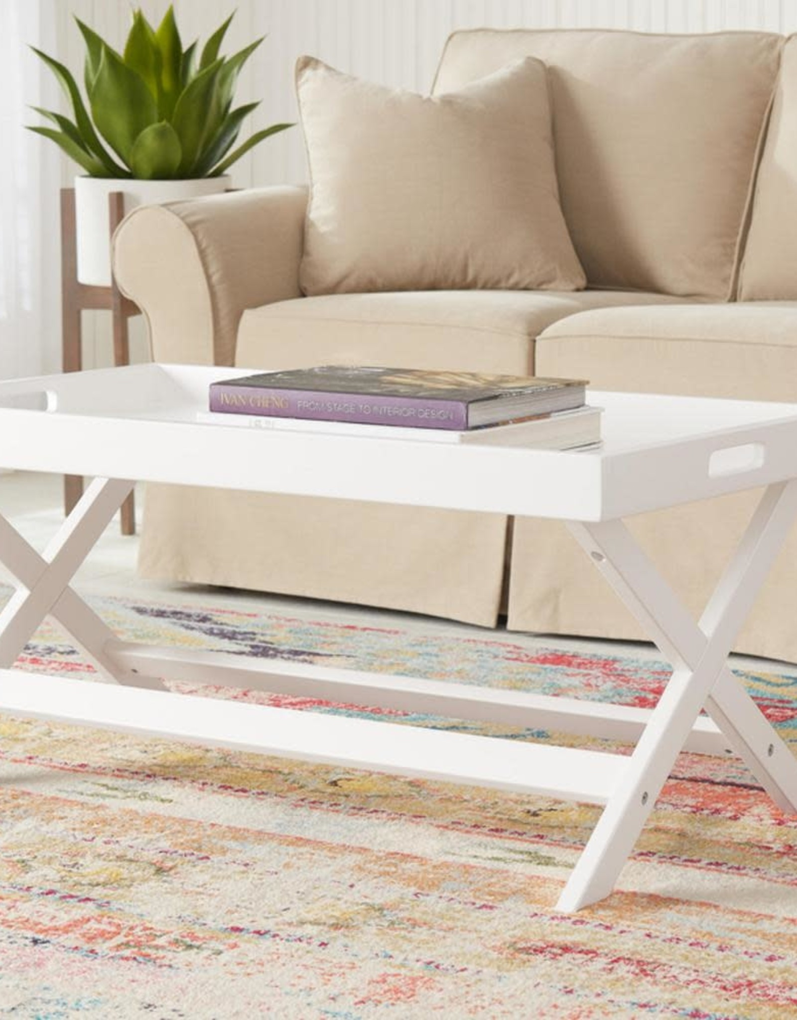 StyleWell Rectangular White Wood Tray Top Coffee Table (40 in. W x 18 in. H)