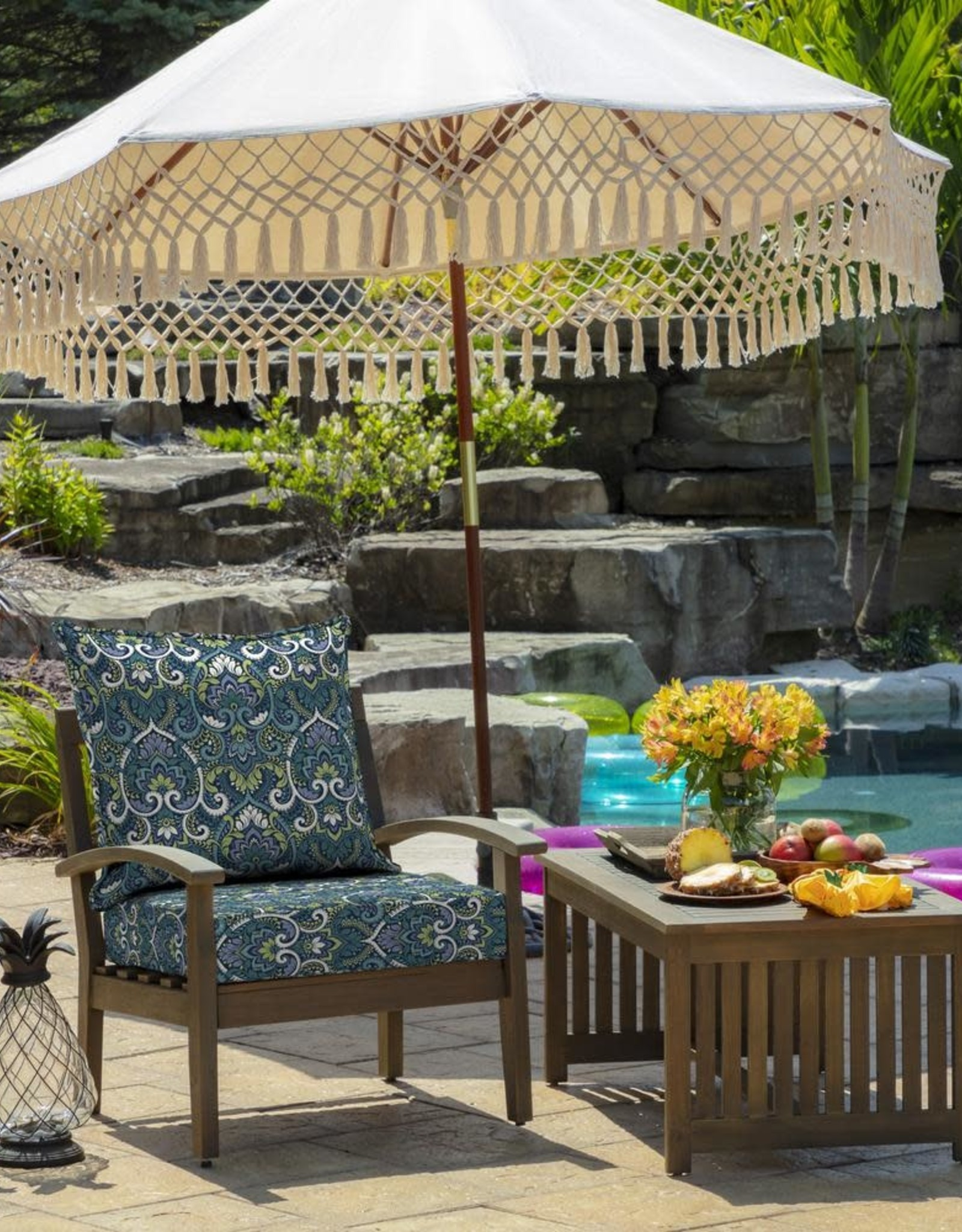 Arden Selections 24 x 24 Sapphire Aurora Damask 2-Piece Deep Seating Outdoor Lounge Chair Cushion