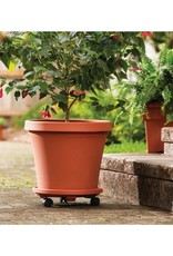 Bloem 15 in. Black Plastic Square Plant Stand Dolly Caddy with Wheels (2-Pack)
