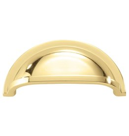 Hickory Hardware Williamsburg Collection 3 in. (76 mm) Polished Brass Cabinet Door and Drawer Cup Pull