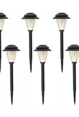 Low-Voltage Black Outdoor Integrated LED Landscape Path Light Set with Transformer (6-Pack)