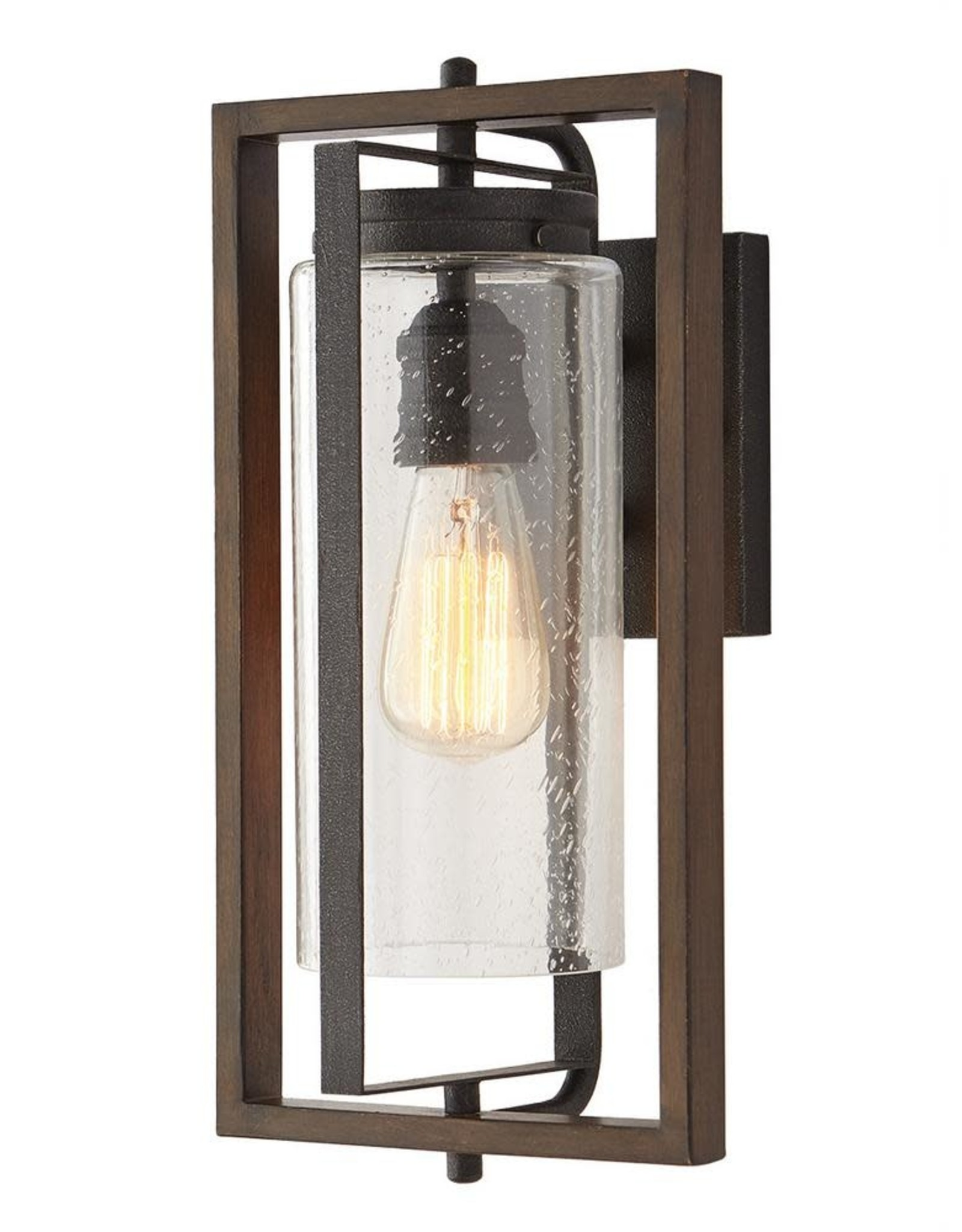 Home Decorators Collection Palermo Grove 1-Light Gilded Iron Outdoor Wall Lantern Sconce with Walnut Wood Accents