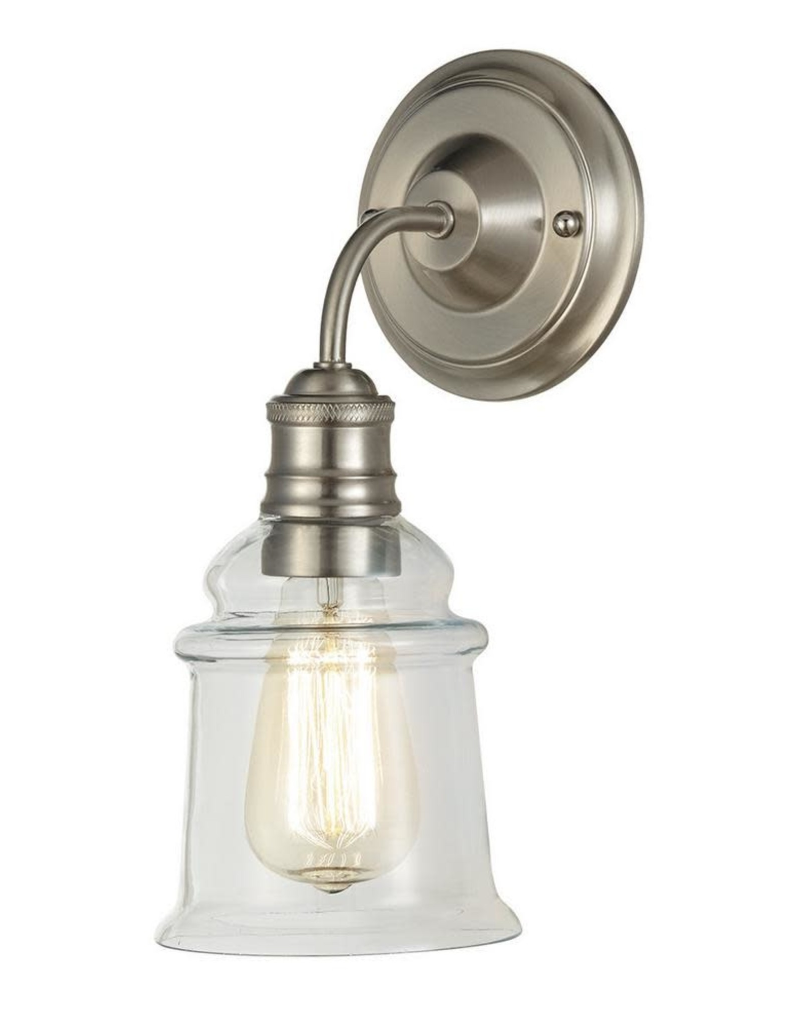Home Decorators Collection 5.1 in. 1-Light Brushed Nickel Wall Sconce with Clear Glass