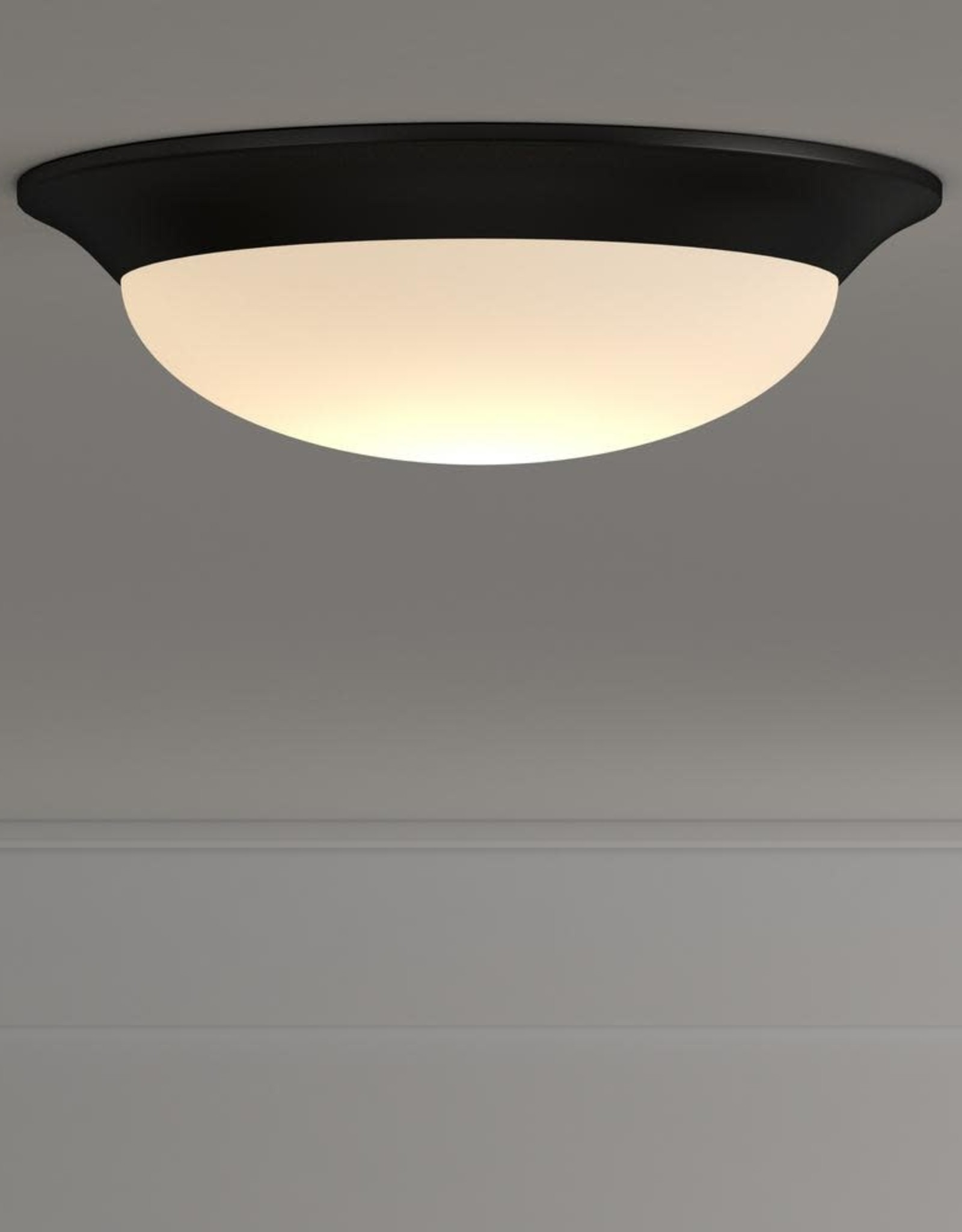Commercial Electric 11 in. 120-Watt Equivalent Satin Bronze Integrated LED Flush Mount with Frosted White Glass Shade