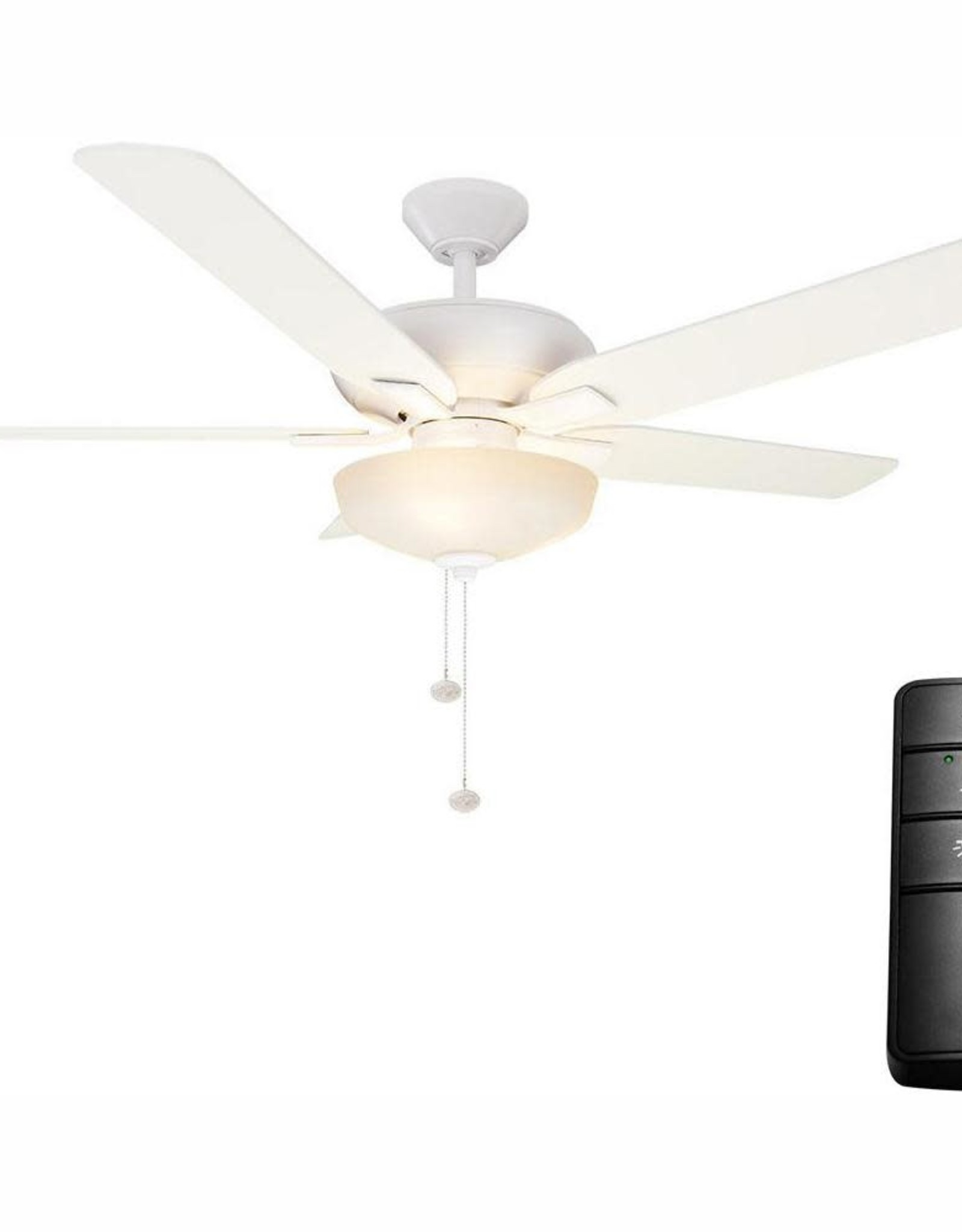 Hampton Bay Holly Springs 52 in. LED Matte White Ceiling Fan with Light Kit and Remote Control