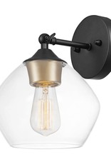Globe Electric Harrow 1-Light Matte Black Wall Sconce with Clear Glass Shade