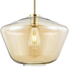 Light Society Vera 1-Light Brushed Brass Pendant Light with Amber Glass Shade