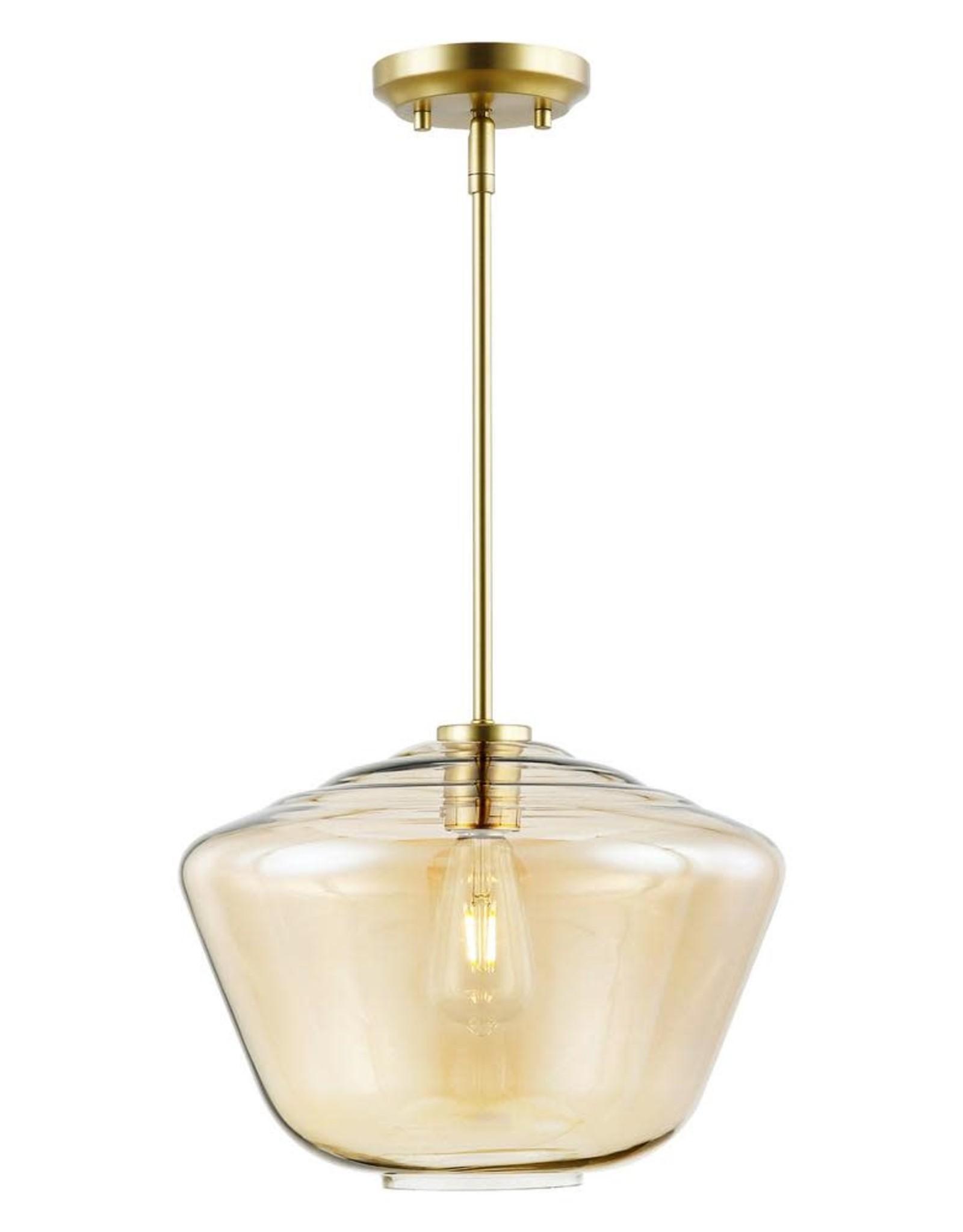 Light Society Vera 1-Light Brushed Brass Pendant Light with Amber Glass Shade