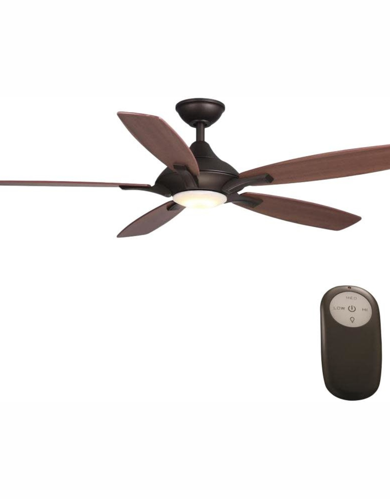 Home Decorators Collection Petersford 52 in. Integrated LED Indoor Oil Rubbed Bronze Ceiling Fan with Light Kit and Remote Control
