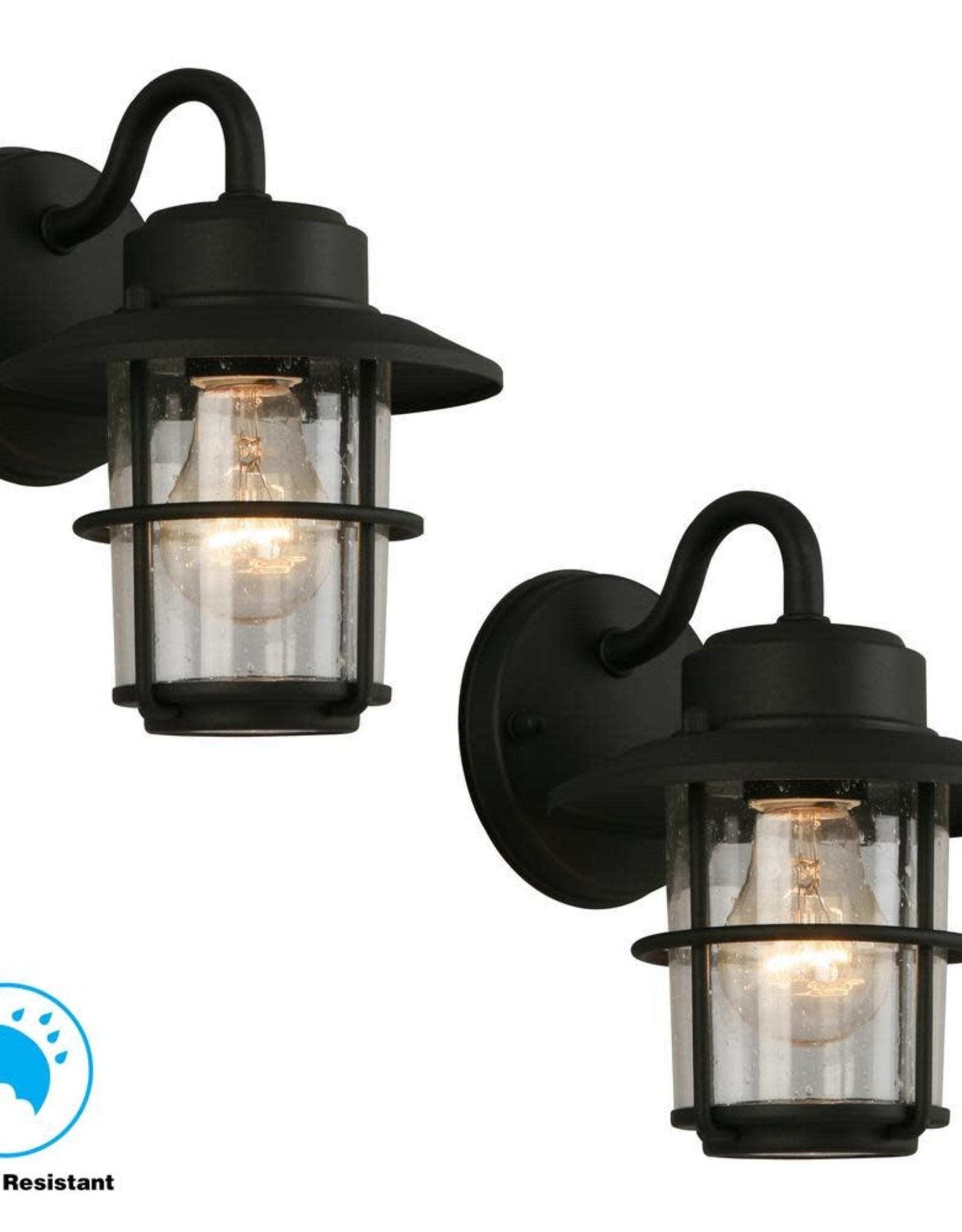 Hampton Bay 1-Light Black Outdoor Wall Lantern Sconce (2-Pack) (258) 4530