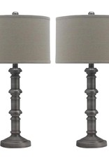 Fangio Lighting 31 in. Antique Silver Metal Stacked Candlestick Table Lamps
