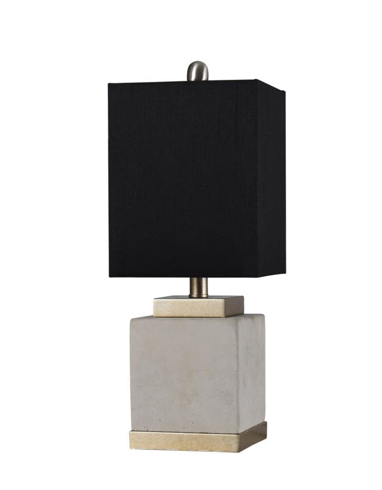 STYLECRAFT HOME CLLCTIONS 20 in. Soft Brass/Natural Cement Table Lamp with Black Hardback Fabric Shade