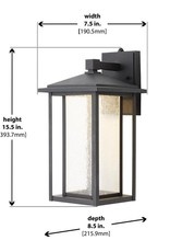 Home Decorators Collection Black Outdoor Seeded Glass Dusk to Dawn Wall Lantern Sconce