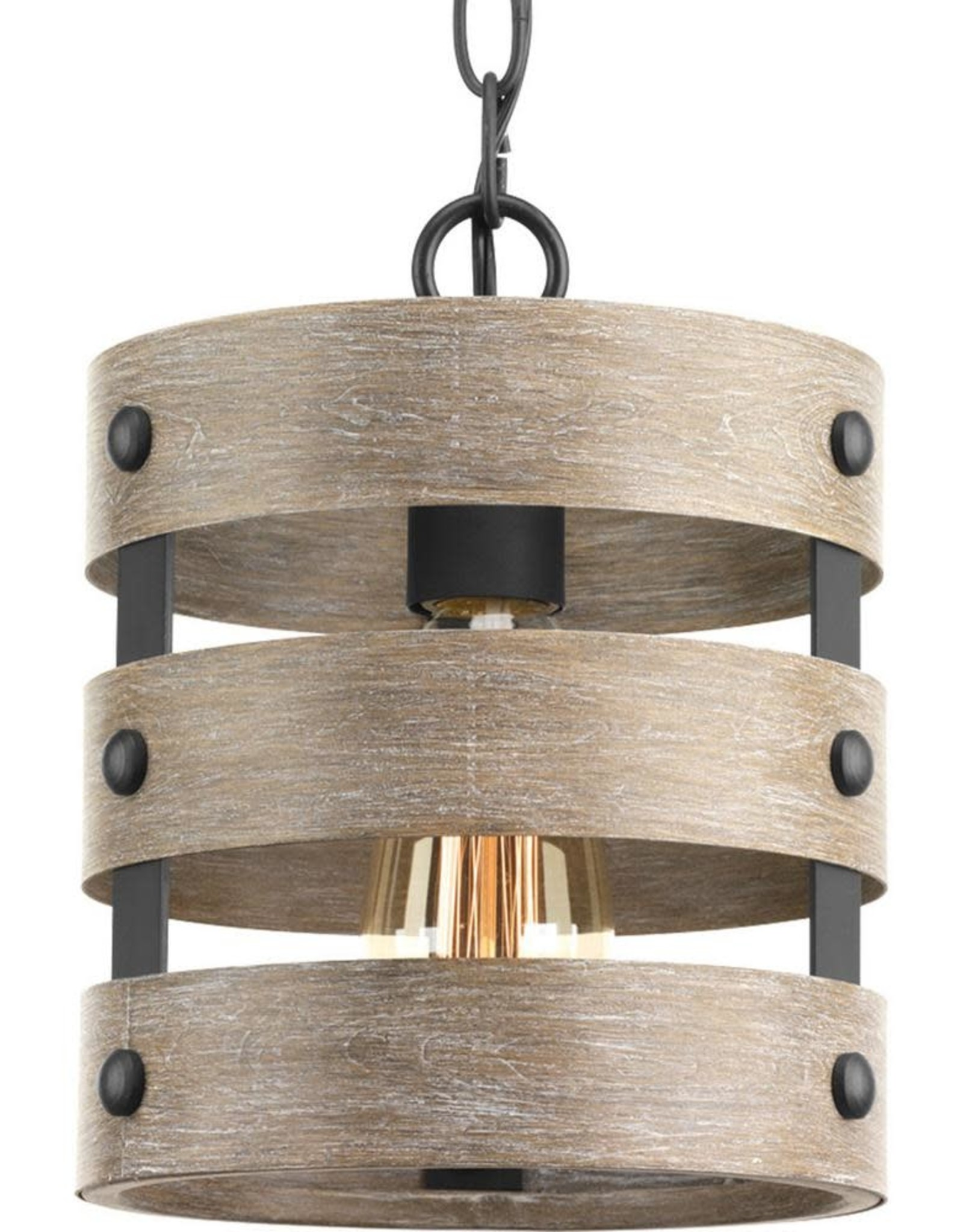Progress Lighting Gulliver 1-Light Graphite Drum Pendant with Weathered Gray Wood Accents