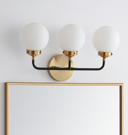 JONATHAN Y Caleb 3-Light 22 in. Brass Gold/Black Wall Sconce