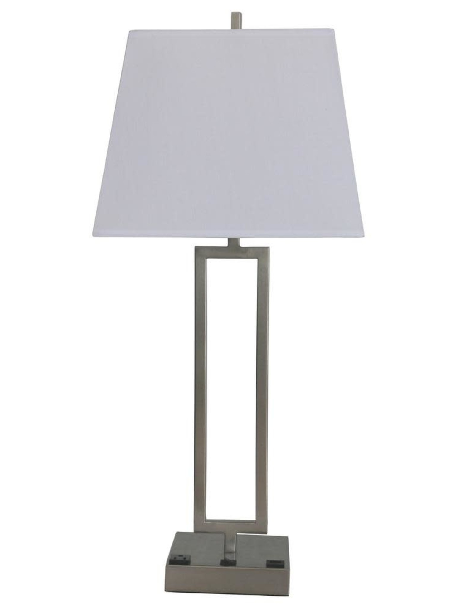 Fangio Lighting 25.5 in. Tech-Friendly Brushed Nickel Metal Table Lamp with 1-Outlet and 1 USB Base Port