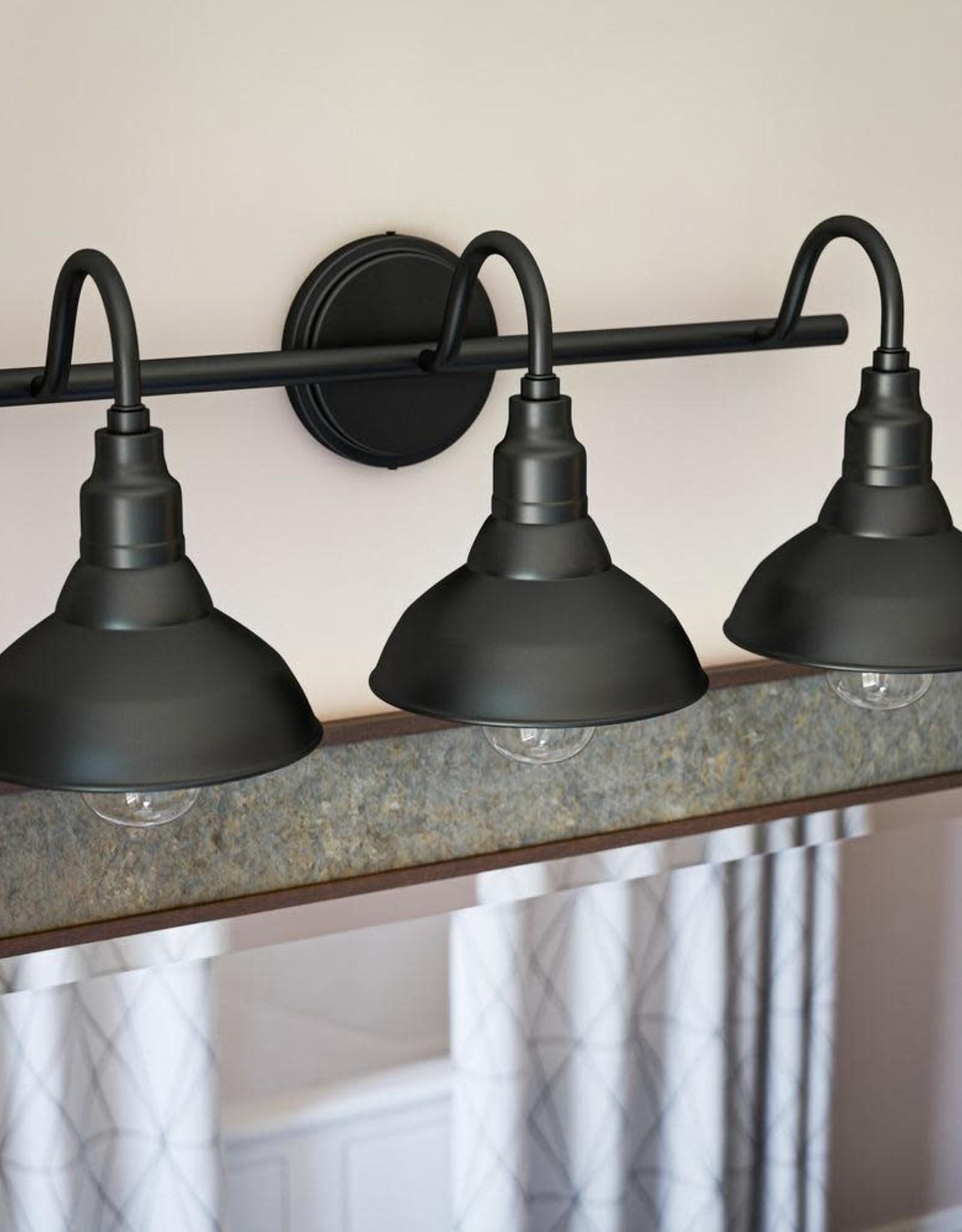 Manor Brook Barnes Barnes 3-Light Black Vanity Light