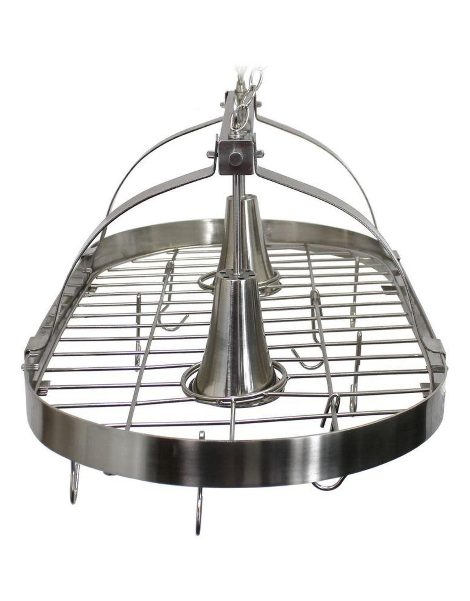 Elegant Designs 2-Light Brushed Nickel Kitchen Pot Rack Light with Hooks