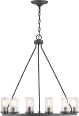 Progress Lighting Hartwell 12-Light Graphite Chandelier with Antique Nickel Accents