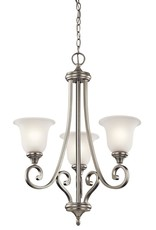 Kichler Monroe 3-Light Brushed Nickel Chandelier with White Etched Glass Shade