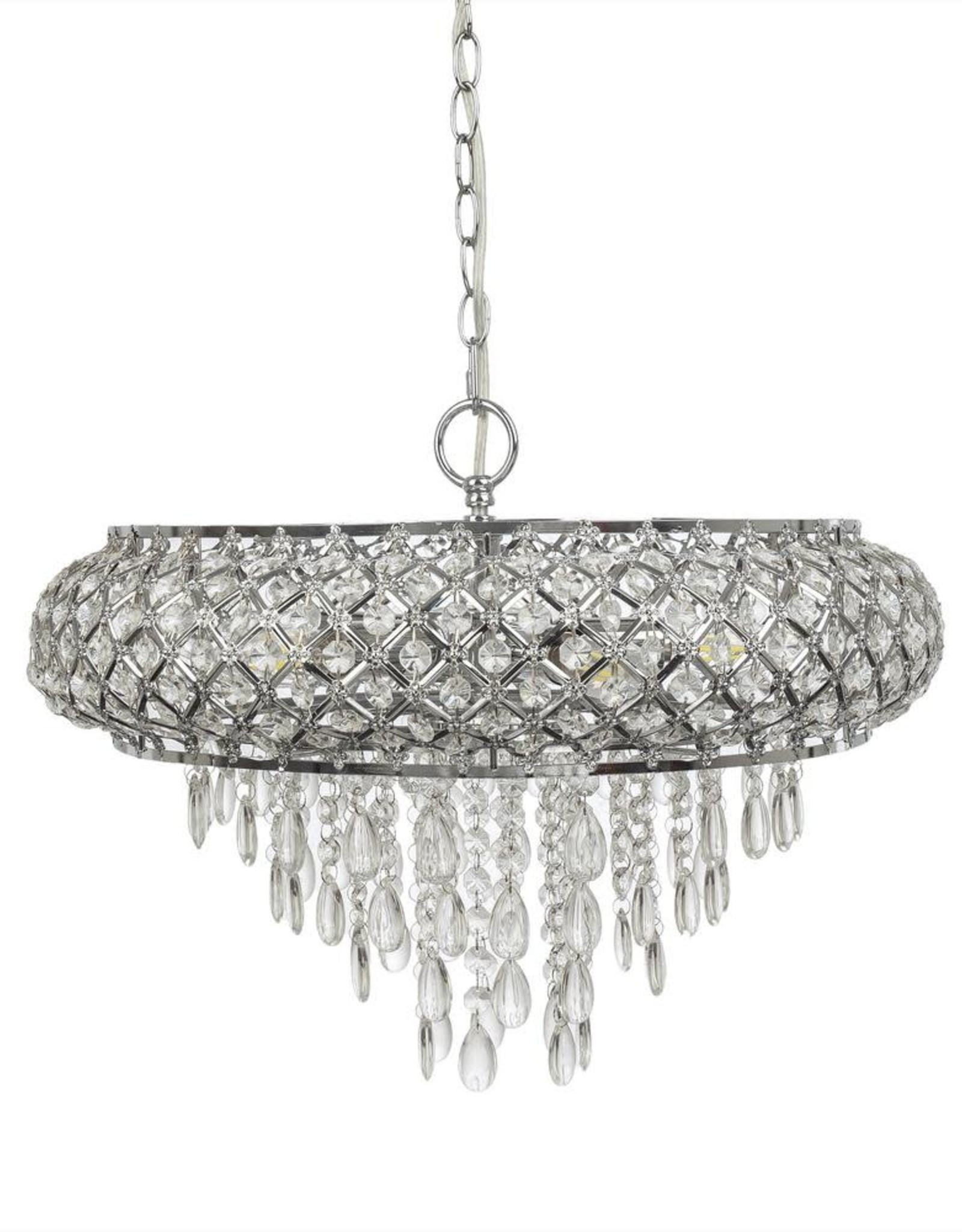 River of Goods 5-Light Chrome Chandelier with Tiered Crystal Glass Shade