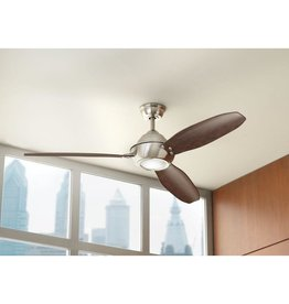 Aero Breeze Aero Breeze 60 in. Integrated LED Indoor/Outdoor Brushed Nickel Ceiling Fan with Light Kit and Remote Control