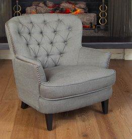 Noble House Tafton Grey Fabric Tufted Club Chair