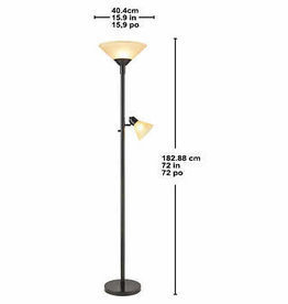 TMI LLC Torchiere Floor Lamp with Reading Light