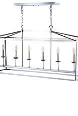 JONATHAN Y Pagoda 49 in. 6-Bulb Chrome Lantern Metal LED Pendant