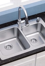 AS AMERICA INC American Standard 18 gauge 33 x 22 Stainless Steel Kitchen Sink with a Stainless Steel pull down Faucet Combo set
