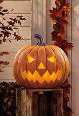 "SEASONAL VISIONS INTL LTD Halloween 17"" (43.2cm) Squatty Jack O Lantern Pumpkin With LED Flickering Lights and Sounds"